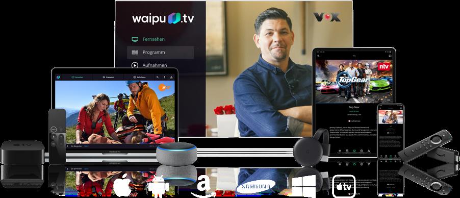 Auf allen Geräten Online-Livestream schauen mit waipu.tv